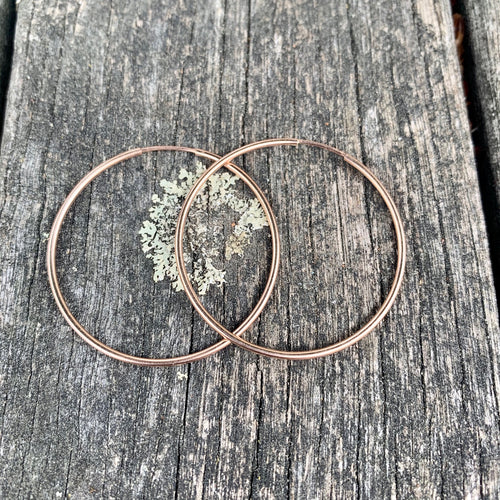 Rose Gold Fill Endless Hoop Earrings, 34.5 mm