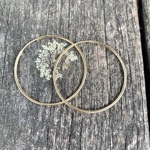 Yellow Gold Fill Endless Hoop Earrings, 38.5 mm