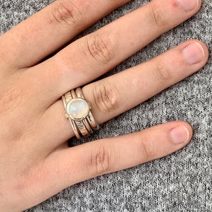 Rainbow Moonstone Unity Spinner Ring, Rowena Watson Designs