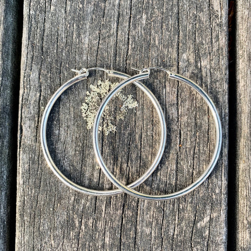 Sterling Silver Hollow Hoop Earrings, 49 mm