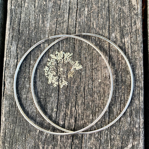 Sterling Silver Endless Hoop Earrings, 53 mm