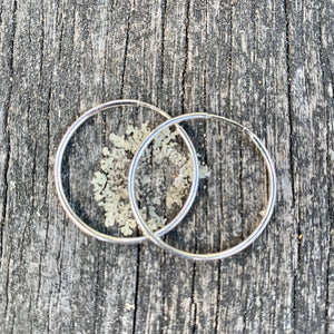 Sterling Silver Endless Hoop Earrings, 28 mm
