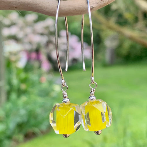 Vintage Acid Yellow Glass Bead and Sterling Silver Earrings, Rowena Watson Designs