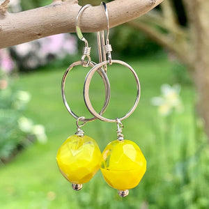 Daffodil Yellow Crystal and Sterling Earrings, Rowena Watson Designs