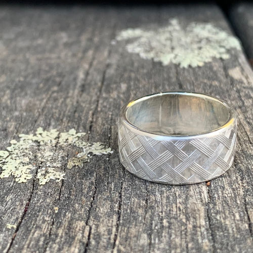 Sterling Silver Woven Pattern Ring, Rowena Watson Designs