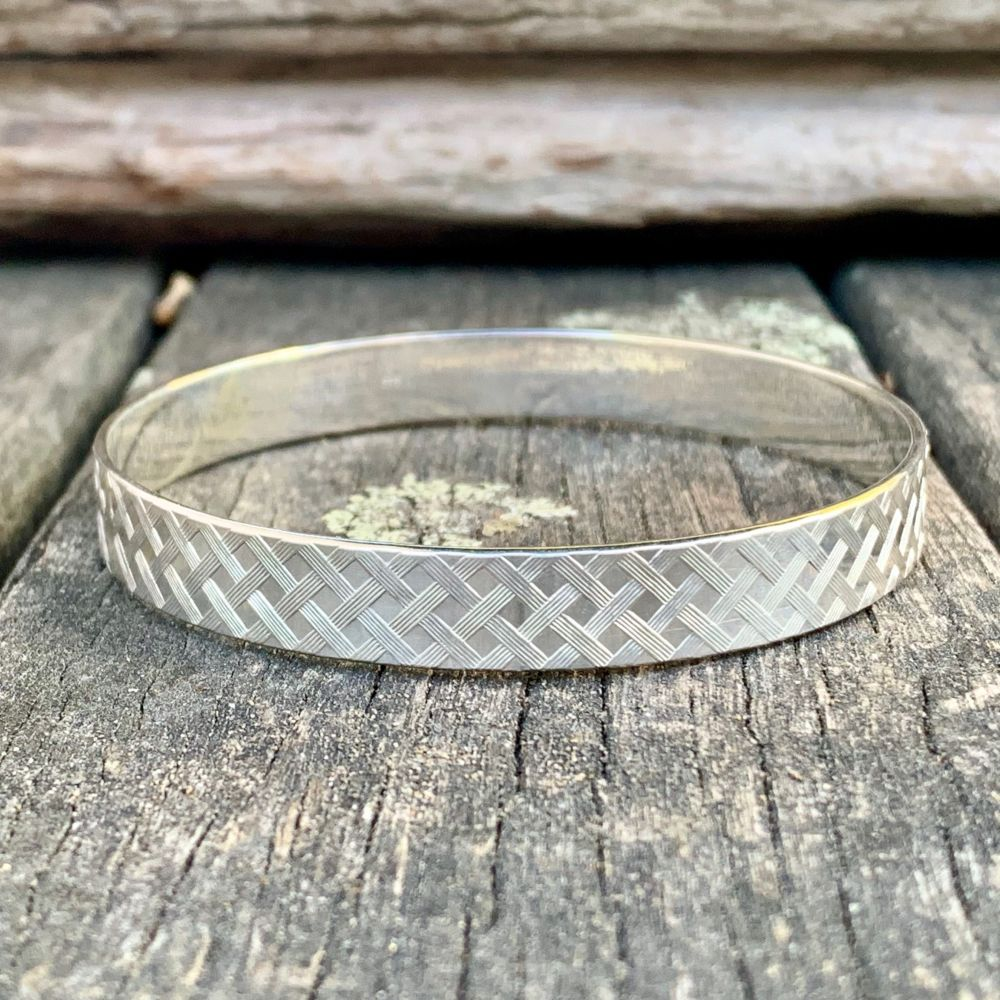 Sterling Silver Woven Pattern Bangle, Rowena Watson Designs