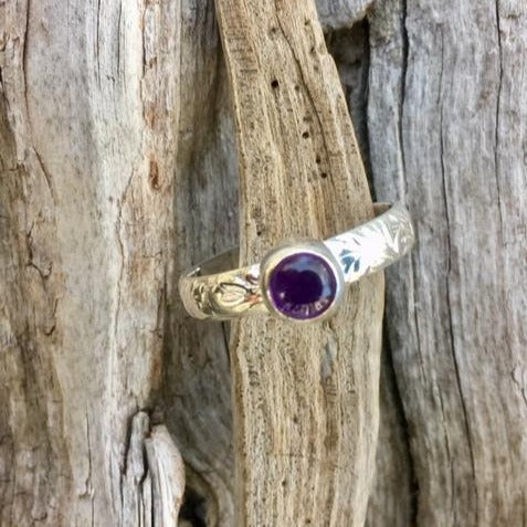 Amethyst on Ornate Band Ring, Rowena Watson Designs