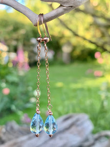Blue Topaz and Rose Gold Fill Earrings, Rowena Watson Designs