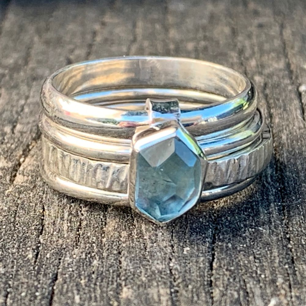 Faceted Aquamarine Unity Spinner Ring, Rowena Watson Designs