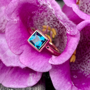 9ct Yellow Gold and Swiss Blue Topaz Ring, Rowena Watson Designs