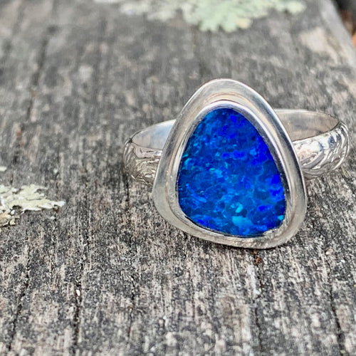 Australian Opal Doublet and Ornate Band Ring, Rowena Watson Designs