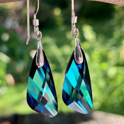 Swarovski Asymmetrical Earrings, Dark Blue