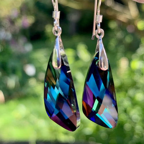 Swarovski Asymmetrical Earrings, Dark Colours