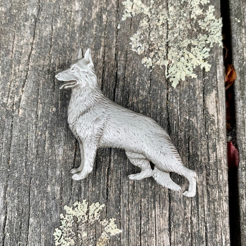 Vintage Pewter German Shepherd Brooch