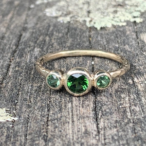 Green Tourmaline 3-Stone 9ct Gold Ring, Rowena Watson Designs