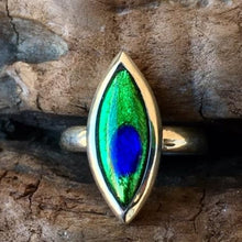 Vintage Marquise Peacock Eye Glass Ring, Rowena Watson Designs