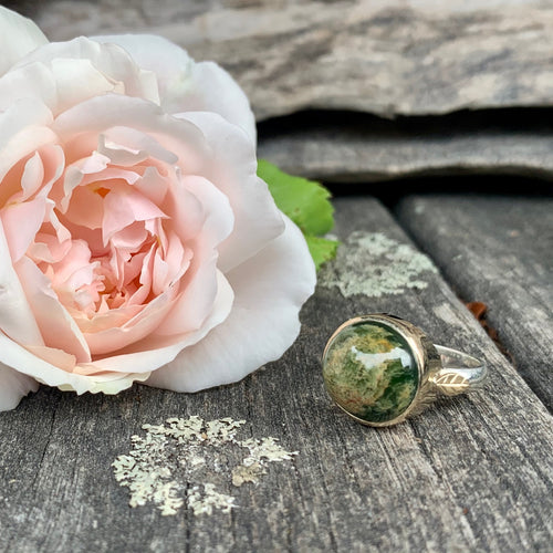 9ct Gold and Sterling Silver Marsden Flower Greenstone Ring, Rowena Watson Designs