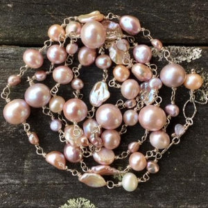 Natural Pink Fresh Water Pearl Necklace, Rowena Watson Designs