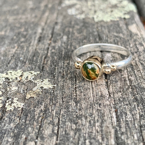 9ct Gold and Sterling Silver Ring with Marsden Flower Greenstone, Rowena Watson Designs