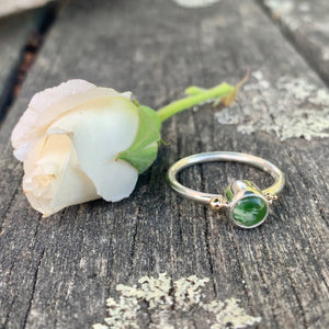 Sterling Silver and Marsden Flower Greenstone Ring with 9ct Gold, Rowena Watson Designs
