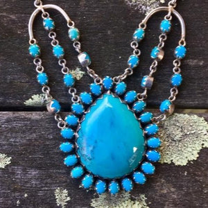 Turquoise and Sterling Silver Necklace, Rowena Watson Designs