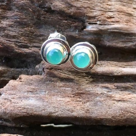 Chrysoprase Stud Earrings, Rowena Watson Designs