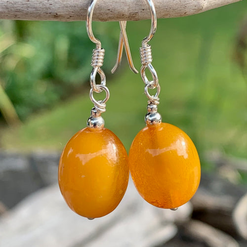 Vintage USSR Egg Yolk Butterscotch Earrings, Rowena Watson Designs