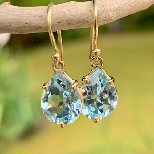 Faceted Blue Topaz Drops in 9 Carat Yellow Gold, Rowena Watson Designs