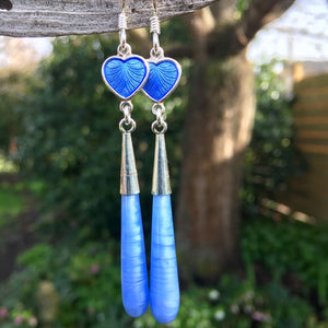 Norwegian Enamel and Czech Glass Earrings, Rowena Watson Designs