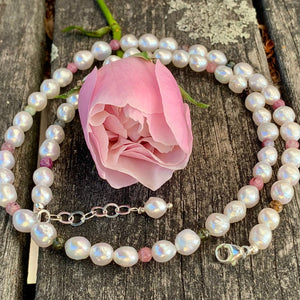 Fresh Water Pearl and Tourmaline Necklace, Rowena Watson Designs
