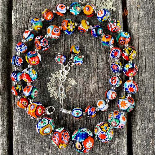 Vintage Venetian Millefiore Glass Necklace, Rowena Watson Designs