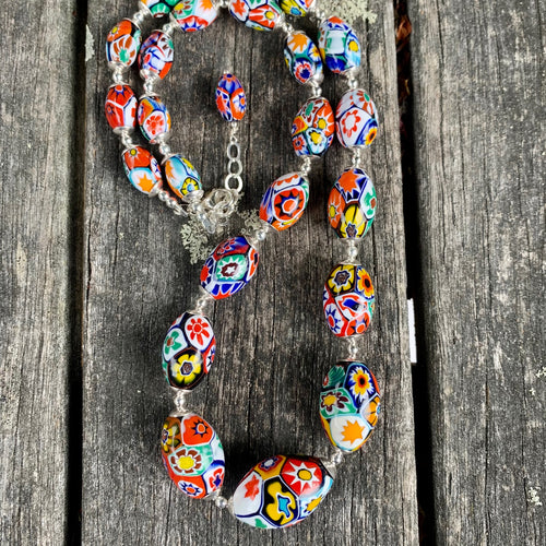 Vintage Oval Venetian Millefiore Glass Necklace, Rowena Watson Designs