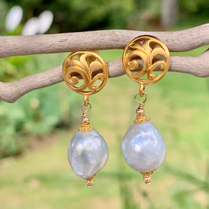 South Sea Pearl and Gold Vermaille Earrings, Rowena Watson Designs