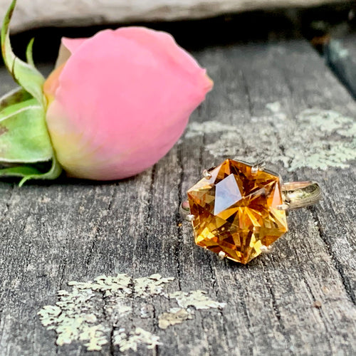 Large Brazilian Citrine and 9ct Yellow Gold Ring, Rowena Watson Designs