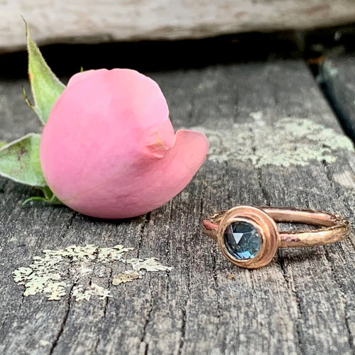 9ct Rose Gold and Rose Cut Blue Topaz Ring, Rowena Watson Designs