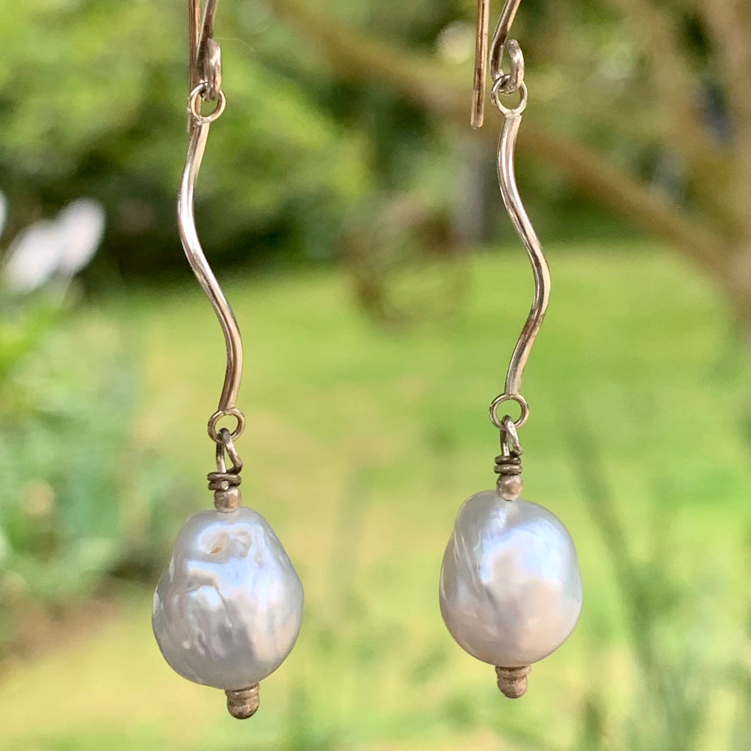 South Sea Pearl and Sterling Silver Earrings, Rowena Watson Designs