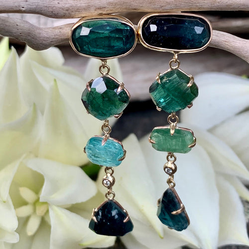 9ct Gold Green Tourmaline and Diamond Earrings, Rowena Watson Designs