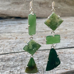 Three-Tier Mismatched Marsden Flower Greenstone Earrings, Rowena Watson Designs