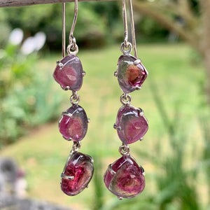 Three-Tiered Watermelon Tourmaline Earrings, Rowena Watson Designs