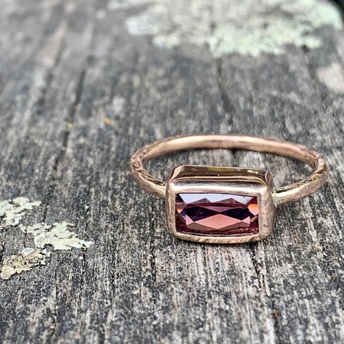Horizontal Pink Tourmaline and 9ct Gold Ring, Rowena Watson Designs