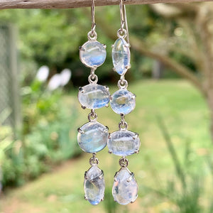 Four-Tiered Rainbow Moonstone Earrings, Rowena Watson Designs
