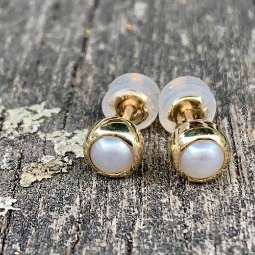 9ct Yellow Gold and Freshwater Pearl Stud Earrings, Rowena Watson Designs