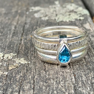 Faceted Blue Topaz Unity Spinner Ring, Rowena Watson Designs
