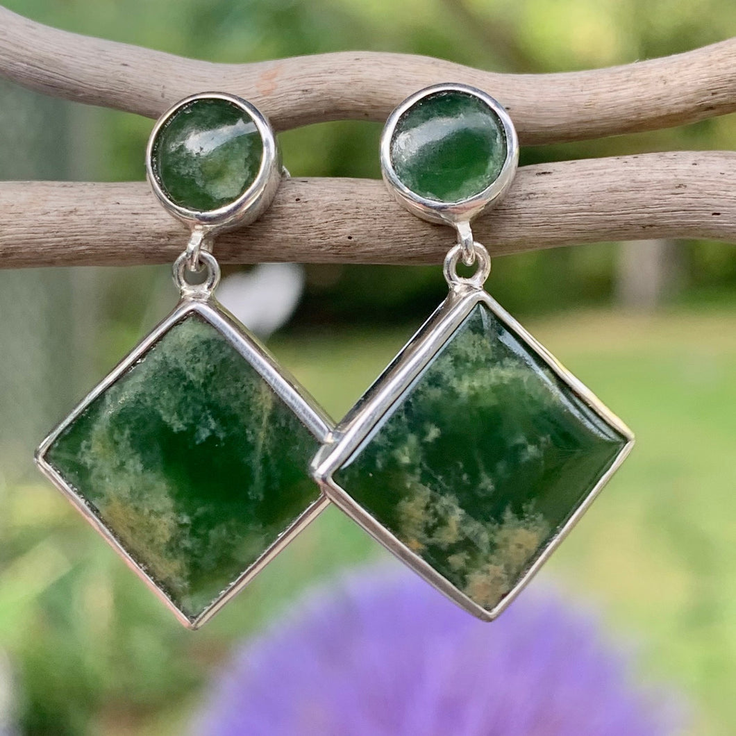 Circle & Square Marsden Flower Greenstone Earrings, Rowena Watson Designs