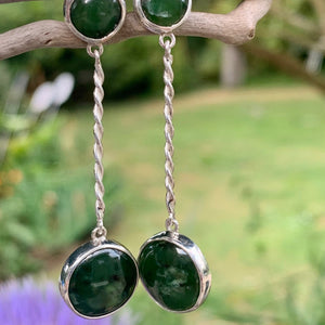 Double Pounamu Drop Earrings with Sterling Silver Twist, Rowena Watson Designs