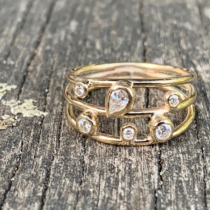 Sky Full of Stars Ring, 9ct Gold and .3ct Diamond, Rowena Watson Designs