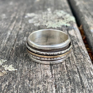 Spinner Ring, Sterling Silver and Yellow Gold Fill, Rowena Watson Designs