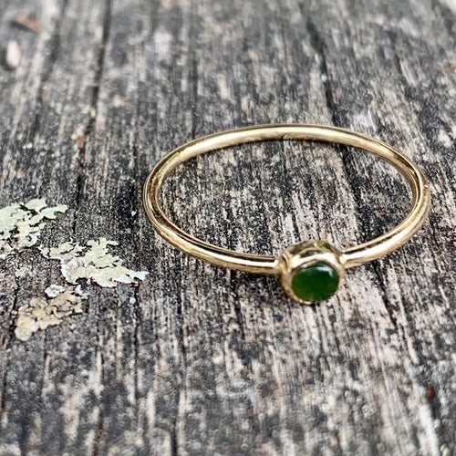 9ct Gold & New Zealand Greenstone Ring, Rowena Watson Designs