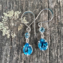 Blue Topaz Double Drop Earrings, Rowena Watson Designs