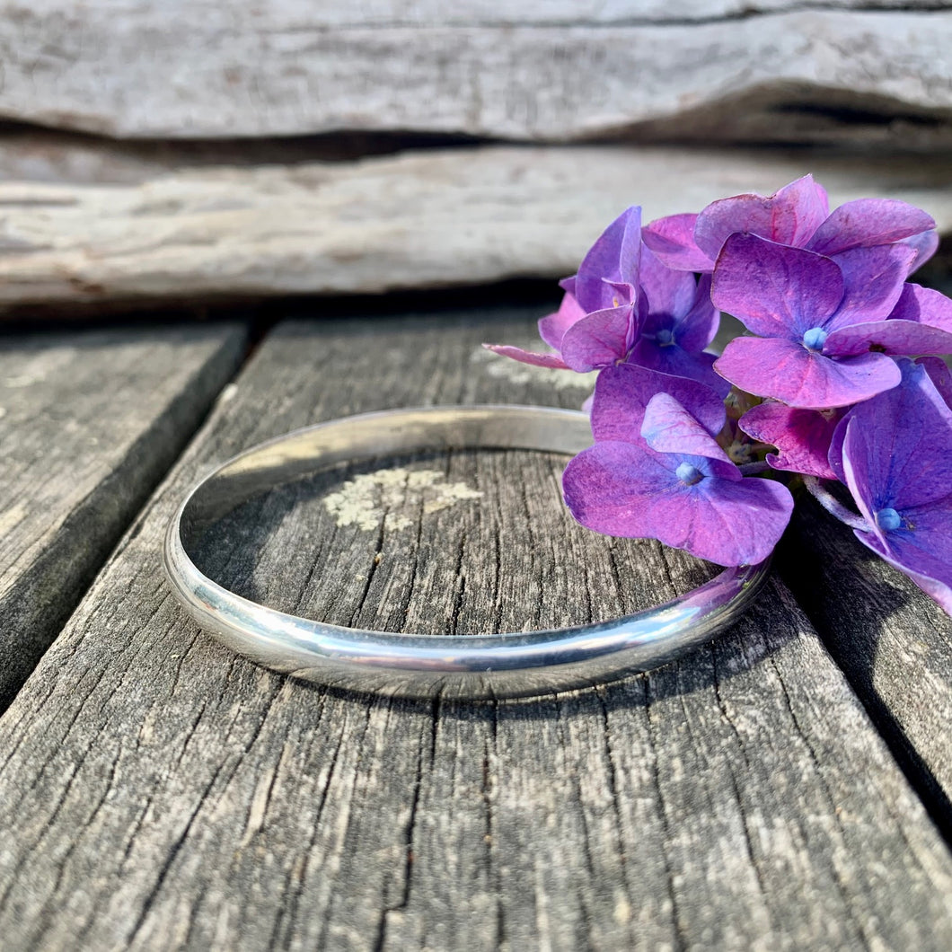 Solid Sterling Silver Smooth Bangle, 7mm, Rowena Watson Designs